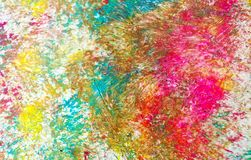 Colors, colorful pastel vivid spot paint background, watercolor acrylic painting abstract background. Yellow purple pink green phosphorescent blue yellow pastel royalty free stock photography