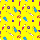 Yellow, purple and pink makeup seamless vector pattern for momen. Royalty Free Stock Images