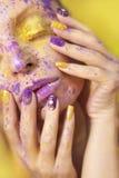 Yellow purple shadow. Stock Image