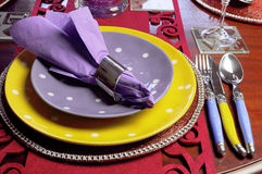Yellow and Purple table place setting - close up Royalty Free Stock Photo