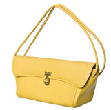 Yellow Purse. Yellow lady`s purse isolated on white background stock photography