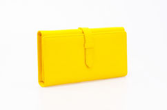 Yellow purse. On a white background stock photo