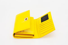 Yellow purse. On a white background stock image