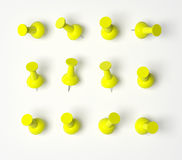 Yellow Push Pins Royalty Free Stock Image