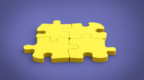 Yellow puzzle on purple background Royalty Free Stock Photography