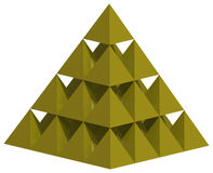 Yellow pyramid 3D. The yellow three-dimensional pyramid which consists of thirty small pyramids Royalty Free Stock Photos