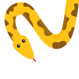 Yellow python snake red tongue. Golden crawling serpent with brown spot.. Yellow python snake red tongue. Golden crawling serpent with brown spot. Cute cartoon Stock Photography