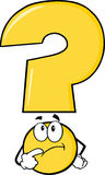 Yellow Question Mark Character Thinking Stock Image