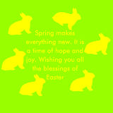 Yellow Rabbit on a green background with text Royalty Free Stock Photography