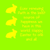 Yellow Rabbit and text with a green background. Stock Photography