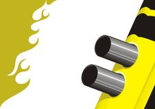 Yellow Race. Fragment rear of the car racing with exhaust pipes/ vector illustration Royalty Free Stock Photo