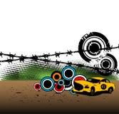 Yellow race car Stock Photos
