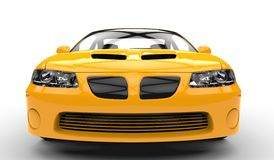 Yellow Race Car Front - Close Up Royalty Free Stock Images