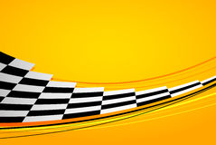 Yellow racing background. Sport banner. Checker flag. eps10 Royalty Free Stock Photos