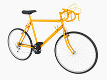 Yellow racing bicycle isolated on white background. Computer generated 3D illustration with a yellow racing bicycle isolated on white background Royalty Free Stock Photography