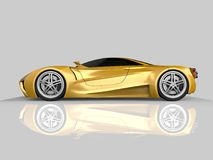 Yellow racing concept car. Image of a car on a gray glossy background. 3d rendering. Yellow racing concept car. Image of a car on a gray glossy background. 3d Stock Photos