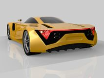 Yellow racing concept car. Image of a car on a gray glossy background. 3d rendering. Yellow racing concept car. Image of a car on a gray glossy background. 3d Stock Photo