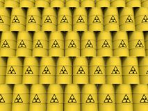 Yellow radiation barrels Royalty Free Stock Images