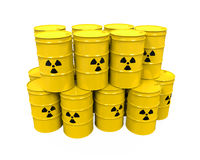 Yellow Radioactive Barrels Stock Photos