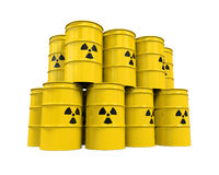 Yellow Radioactive Barrels Royalty Free Stock Images