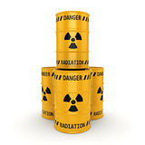 Yellow radioactive barrels Stock Images
