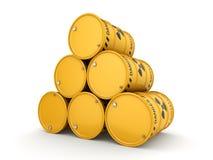 Yellow radioactive barrels Stock Photography