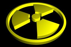 Yellow Radioactive sign isolated on black background. 3D illustrations. Danger sign concept image Royalty Free Stock Photos