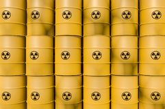 Yellow radioactive waste barrels - nuclear waste dumping concept Stock Photography