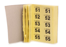Yellow raffle ticket book Stock Images