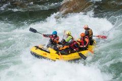 Yellow raft team Royalty Free Stock Photos