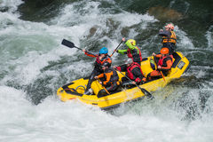 Yellow raft team Royalty Free Stock Images