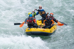 Yellow raft team Royalty Free Stock Photo