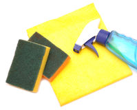 Yellow rag and kitchen sponge Stock Images