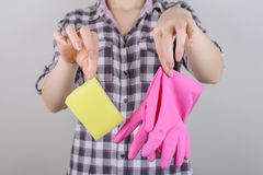 Yellow rag sponge tender gentle girlish skin mess concept. Close stock images