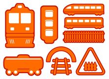 Yellow rail road icons set Stock Image
