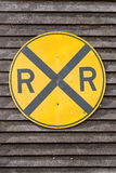 Yellow railroad crossing sign royalty free stock photos