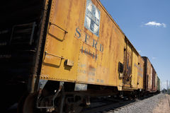 Yellow railroad freight cars Stock Photo