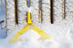 Yellow rake under snow in winter Royalty Free Stock Photography