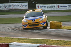 Yellow rally car Stock Images