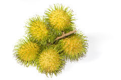 Yellow Rambutan Tropical Fruits. Exotic yellow rambutan, the tropical fruits royalty free stock image