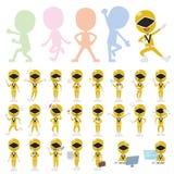 Yellow Ranger. Set of various poses of Yellow Ranger Royalty Free Stock Photos