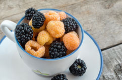 Yellow raspberries and blackberries in a small cup Royalty Free Stock Photo