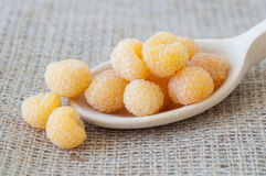 Yellow raspberries still life image Stock Image
