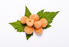 Yellow raspberry. On white backgrond Royalty Free Stock Image