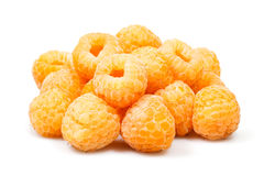 Yellow raspberry heap. On white background Royalty Free Stock Photos