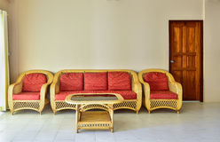Yellow rattan armchair Royalty Free Stock Photography