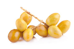 Yellow raw dates isolated on white background.  Stock Images
