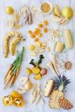 Yellow raw and organic foods stock image