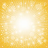 Yellow Ray Background. With Stars and Wave Stock Photo