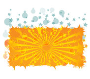 Yellow Ray and bubbles. Beautiful illustration of yellow ray, bubbles and stars Royalty Free Stock Images